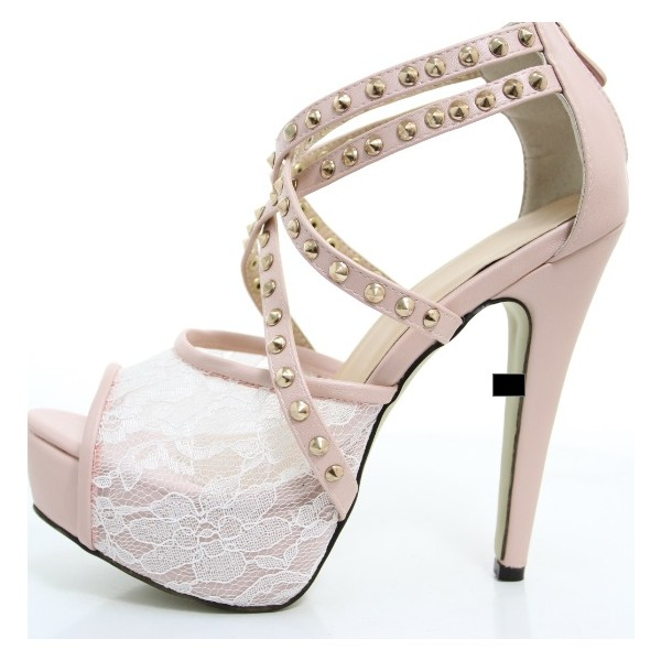Pink Lace Heels Studded Peep Toe Platform Sandals for Prom image 4