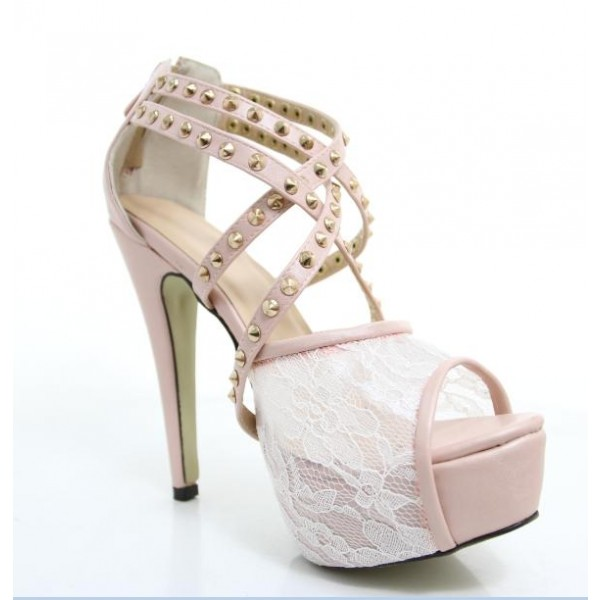 Pink Lace Heels Studded Peep Toe Platform Sandals for Prom image 2