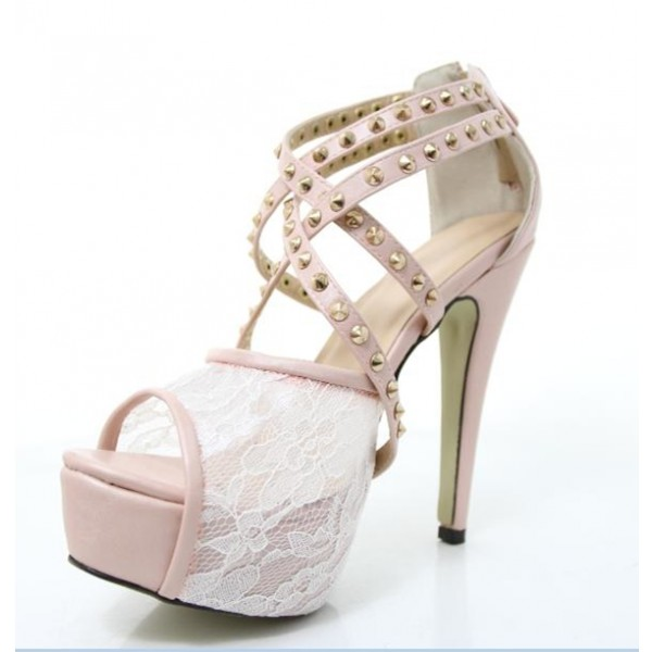 Pink Lace Heels Studded Peep Toe Platform Sandals for Prom image 3
