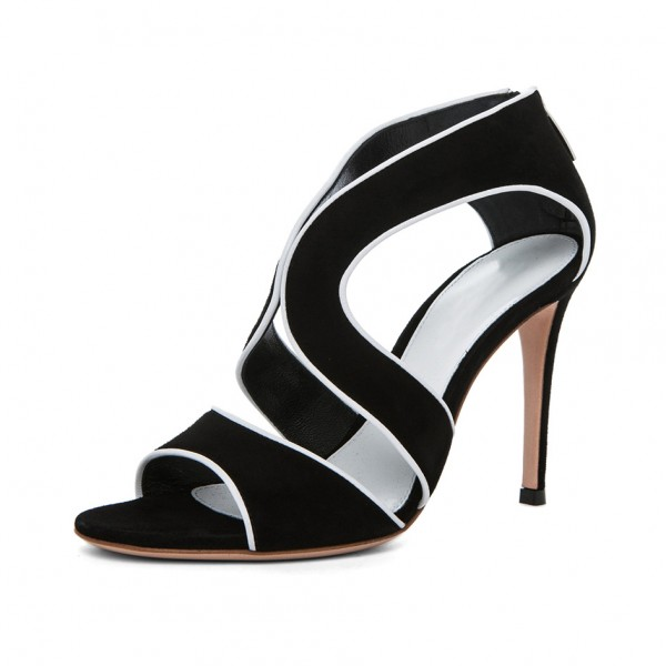 Women's Black and White Stiletto Heels Formal Suede Peep Toe Cutout Pumps image 1