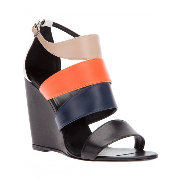 Women's Multicolor Open toe Ankle Strap Strappy Wedge Sandals image 4