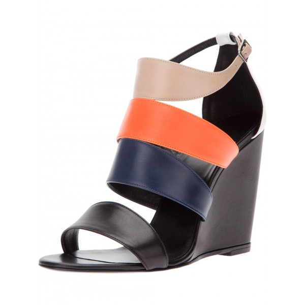 Women's Multicolor Open toe Ankle Strap Strappy Wedge Sandals image 1