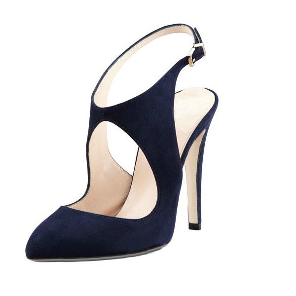 Navy Commuting Slingback Almond Toe Stiletto Heel Sandals image 1