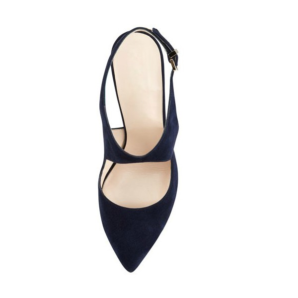Navy Commuting Slingback Almond Toe Stiletto Heel Sandals image 2