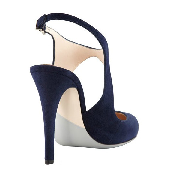 Navy Commuting Slingback Almond Toe Stiletto Heel Sandals image 3