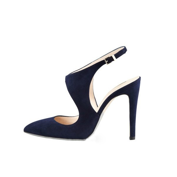 Navy Commuting Slingback Almond Toe Stiletto Heel Sandals image 4