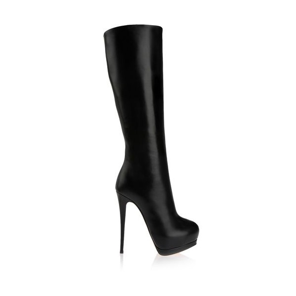 Women's Black Stiletto Heels Knee-high Platform Boots image 5