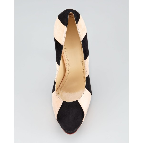 Black and Beige Stripes Platform Heels Stilettos Suede Pumps image 2