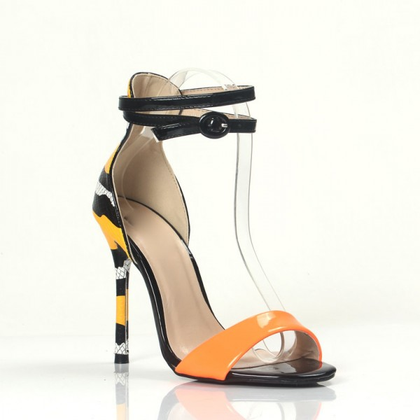 Orange Ankle Strap Sandals Python Open Toe Stiletto Heels image 2