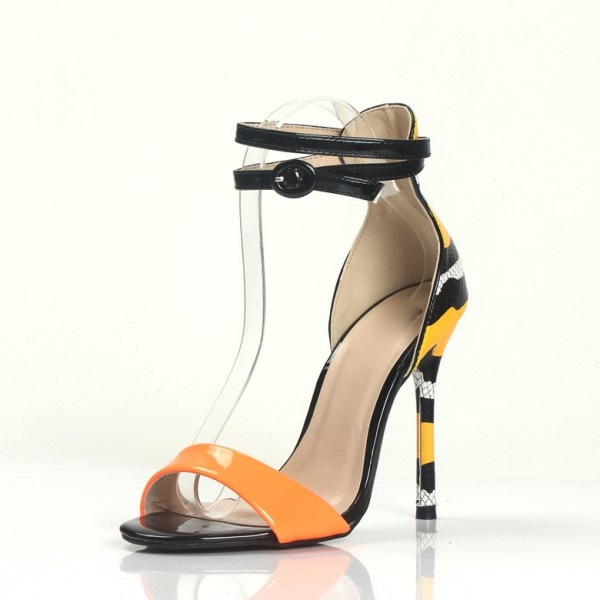 Orange Ankle Strap Sandals Python Open Toe Stiletto Heels image 1