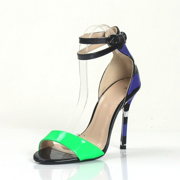 Green Ankle Strap Sandals Python Open Toe Stiletto Heels Shoes image 1