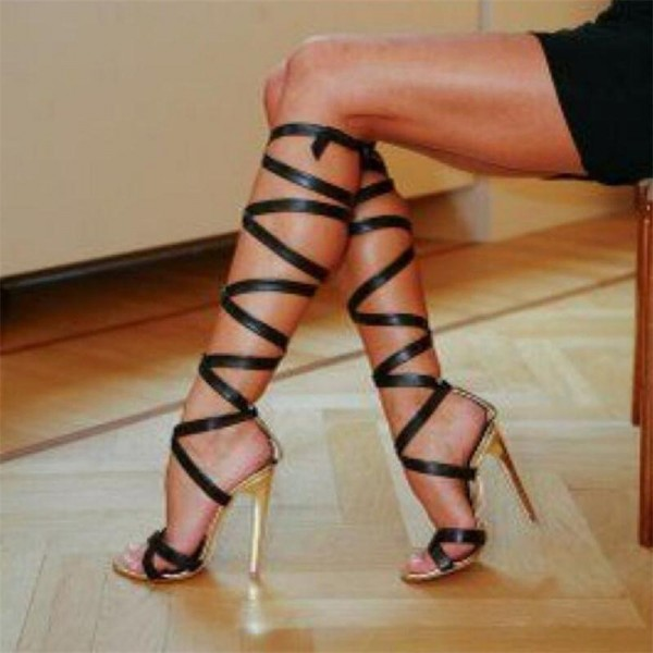 Black Strappy Knee High Open Toe Stiletto Heel Gladiator Heels Sandals image 1