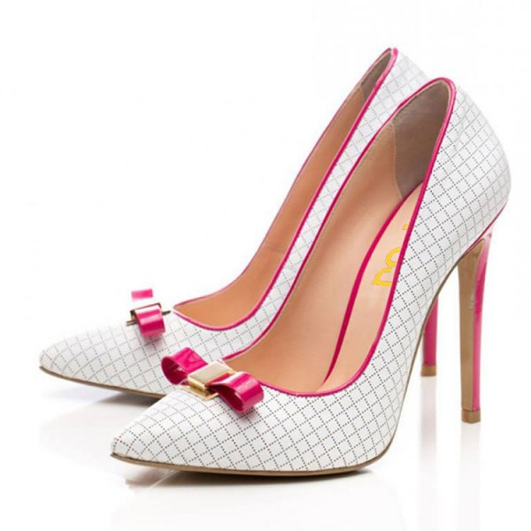 White and Fuchsia Bow Heels Pointy Toe Pumps Plaid Office Shoes image 1