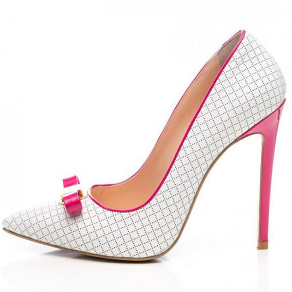 White and Fuchsia Bow Heels Pointy Toe Pumps Plaid Office Shoes image 3