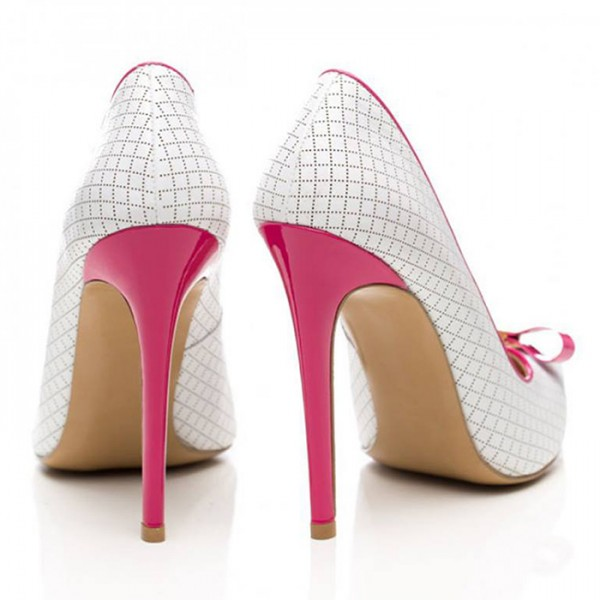 White and Fuchsia Bow Heels Pointy Toe Pumps Plaid Office Shoes image 4