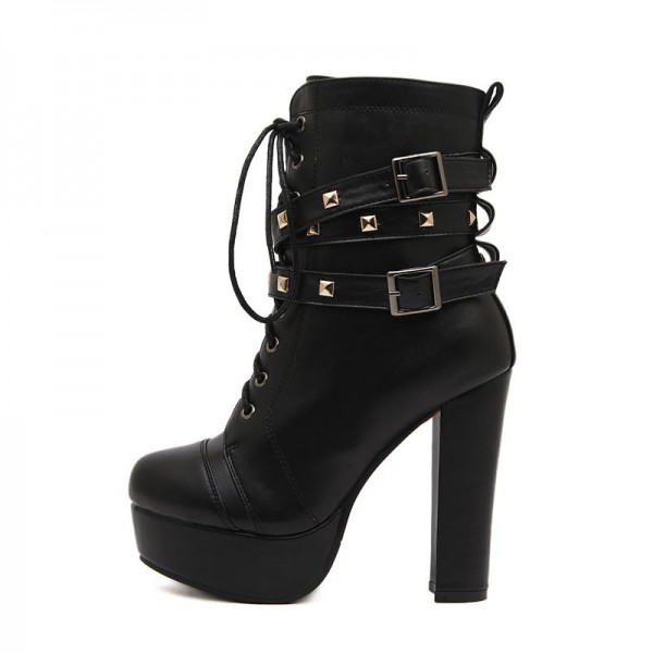 Black Platform Lace Up Boots Chunky Heel Rivets Buckle Ankle Booties image 2