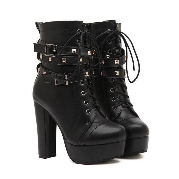 Black Platform Lace Up Boots Chunky Heel Rivets Buckle Ankle Booties image 4