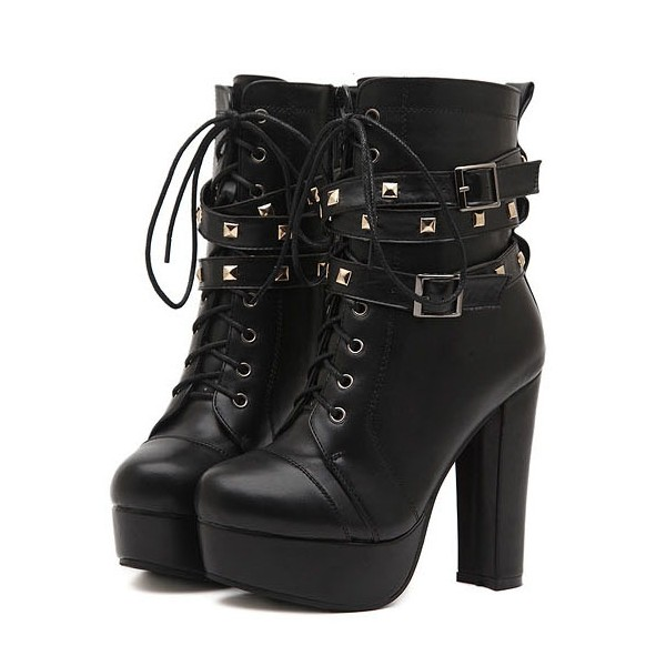 Women's Black Platform Heels Lace Up Chunky Heels Rivets Buckle ...