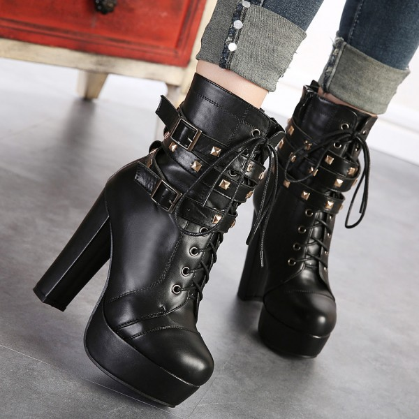 Black Platform Lace Up Boots Chunky Heel Rivets Buckle Ankle Booties image 5
