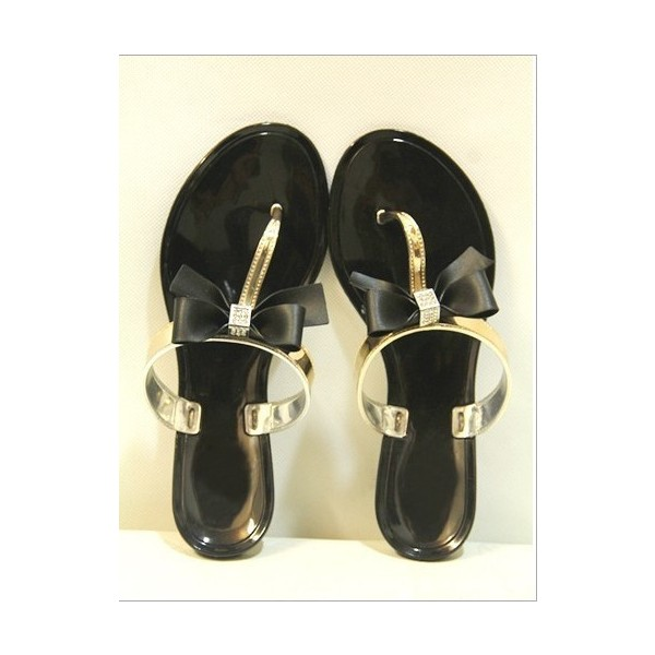 Black and Gold Cute Sandals Flat Beach Flip Flops with Bow image 3