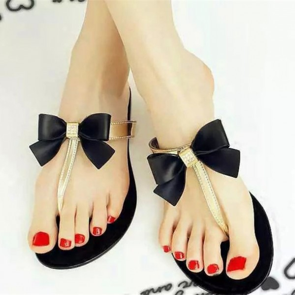 Black and Gold Summer Sandals Comfortable Beach Shoes with Bow image 1