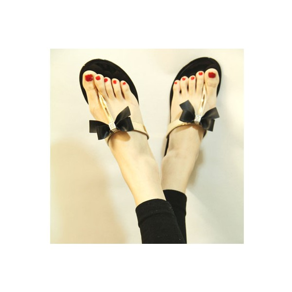 Black and Gold Summer Sandals Comfortable Beach Shoes with Bow image 2