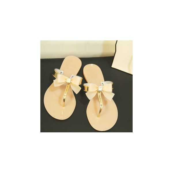 Women's Golden Open Toe Bow Slipper  Comfortable Flats Sandals image 1