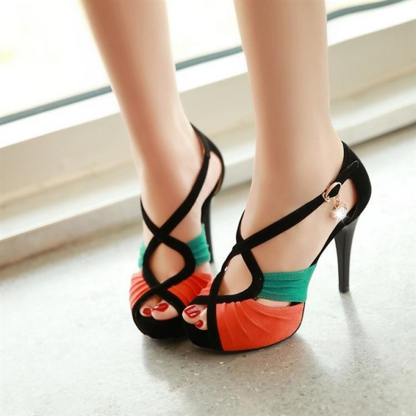 Orange and Green Stitching Color Cross Strap Stiletto Heels Sandals image 1