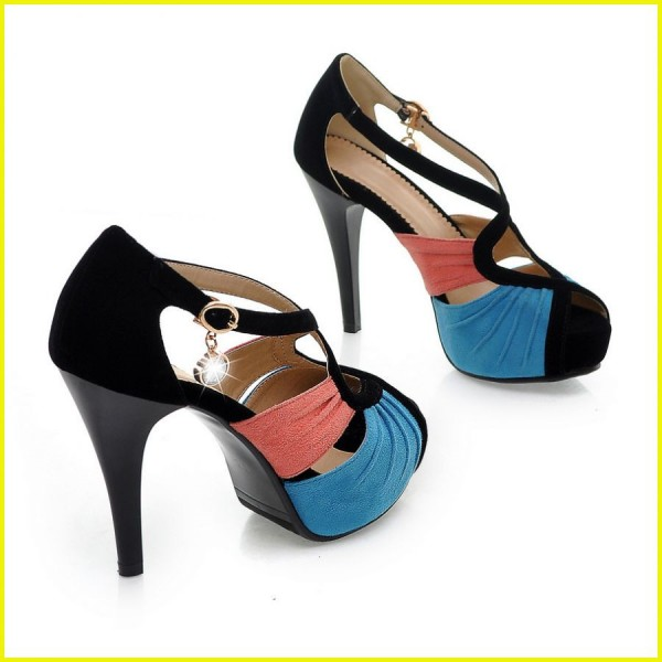 Blue and Pink Peep Toe Heels Suede Platform Sandals image 3