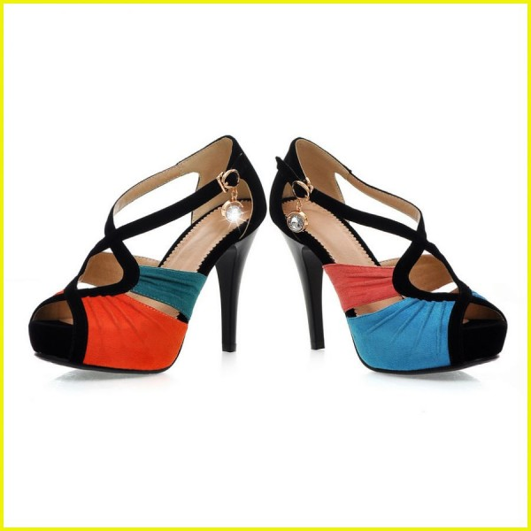 Blue and Pink Peep Toe Heels Suede Platform Sandals image 4