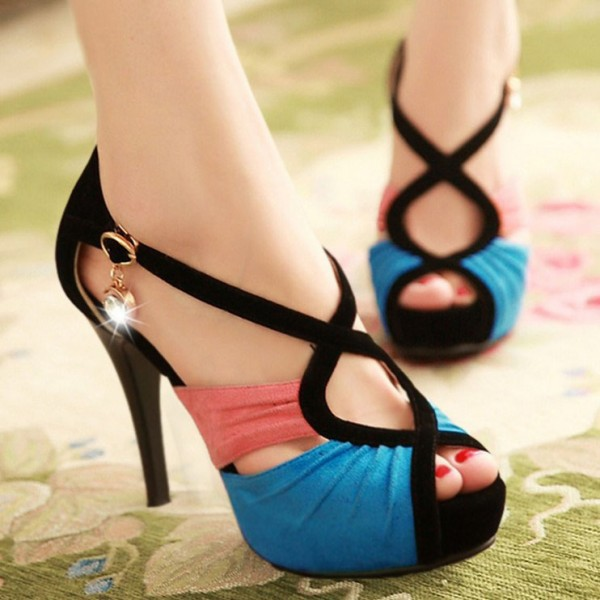 Blue and Pink Peep Toe Heels Suede Platform Sandals image 2
