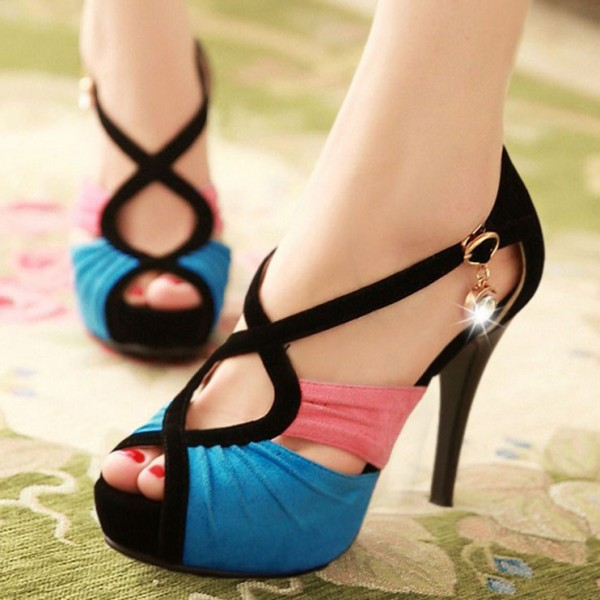 Blue and Pink Peep Toe Heels Suede Platform Sandals image 1