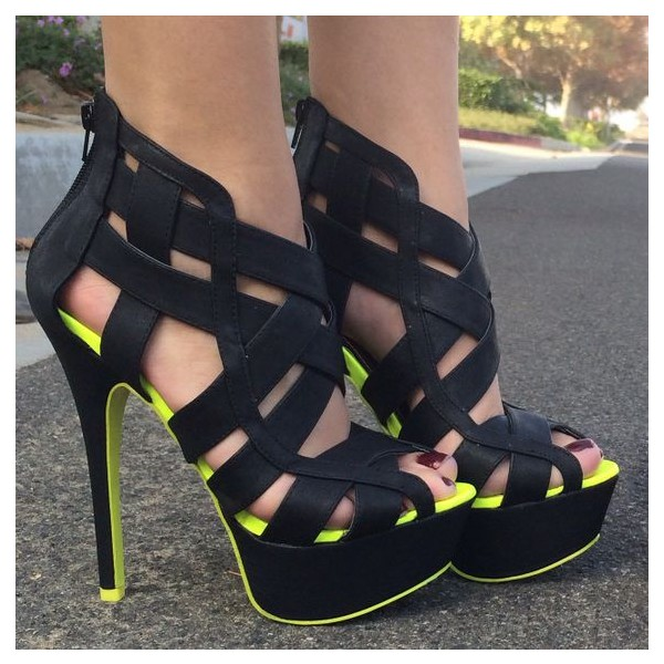 Women's Black and Lime Green Platform Sandals Hollow-out High Heels image 3