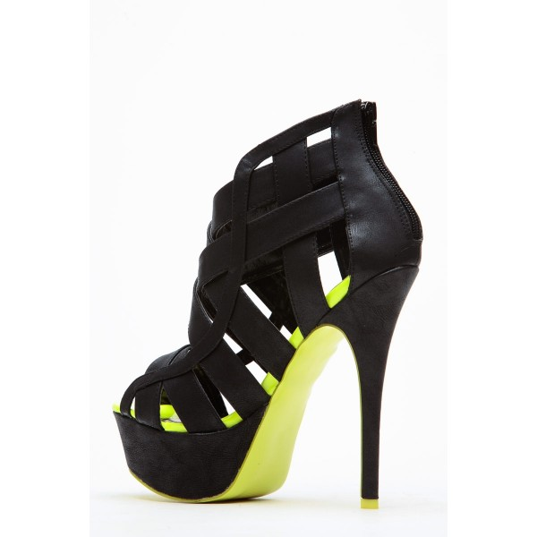 Women's Black and Lime Green Platform Sandals Hollow-out High Heels image 4