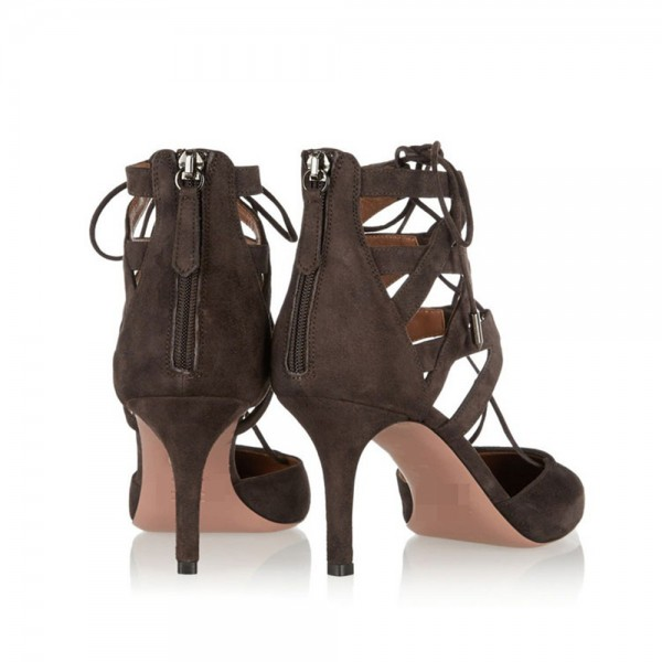 Dark Brown Lace up Heels Pointy Toe Suede Stiletto Heels Sandals image 3