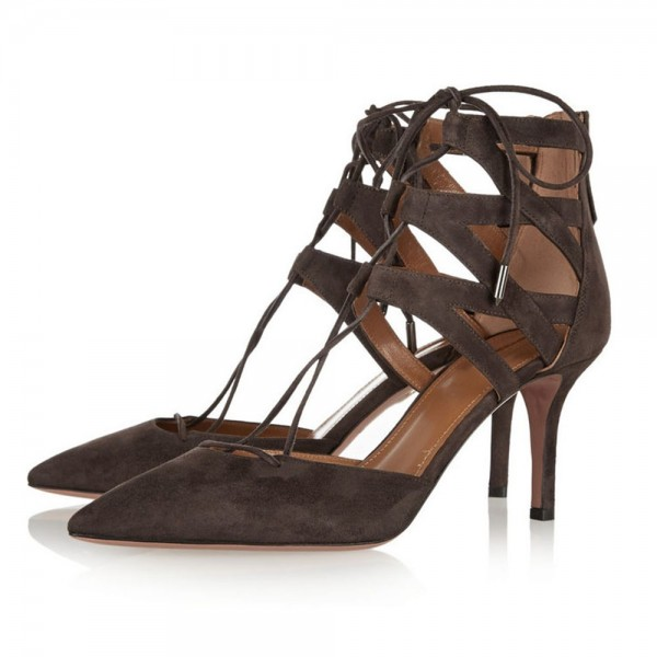 Dark Brown Lace up Heels Pointy Toe Suede Stiletto Heels Sandals image 1