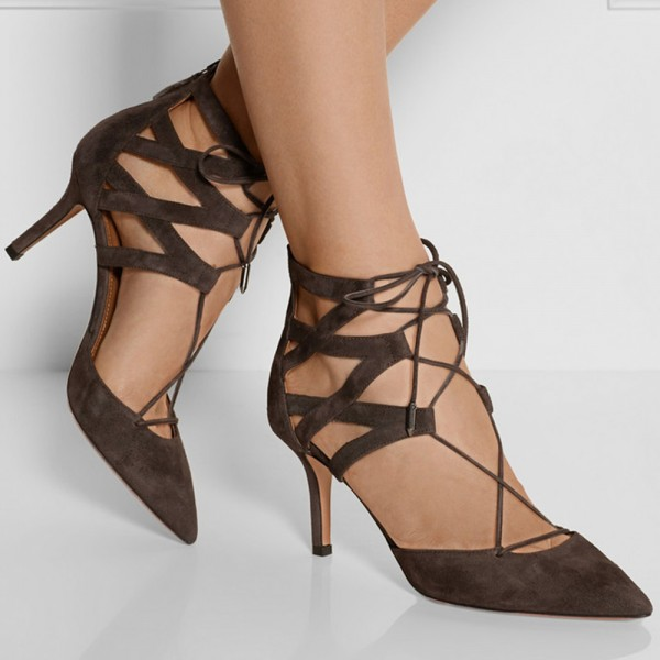 Dark Brown Lace up Heels Pointy Toe Suede Stiletto Heels Sandals image 5