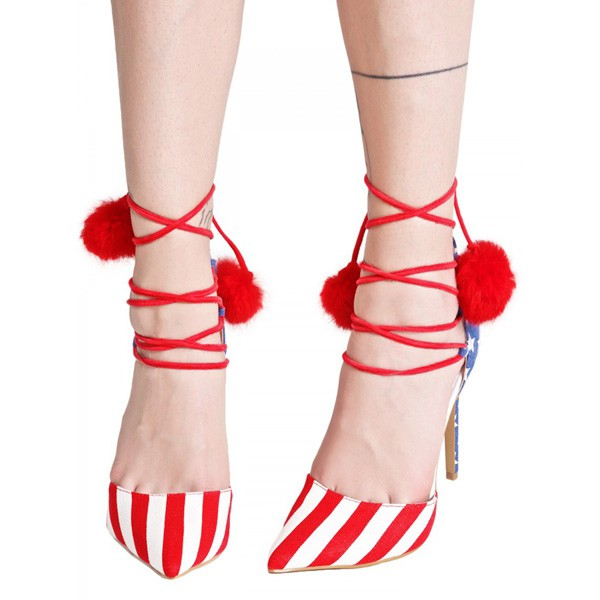 Stars and Stripes Pom Pom Heels Strappy Closed Toe Pumps image 2