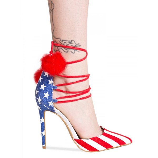 Stars and Stripes Pom Pom Heels Strappy Closed Toe Pumps image 3