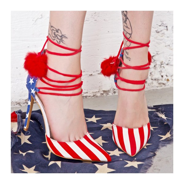 Stars and Stripes Pom Pom Heels Strappy Closed Toe Pumps image 4