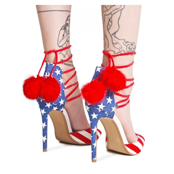 Stars and Stripes Pom Pom Heels Strappy Closed Toe Pumps image 5