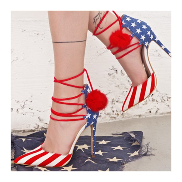 Stars and Stripes Pom Pom Heels Strappy Closed Toe Pumps image 1
