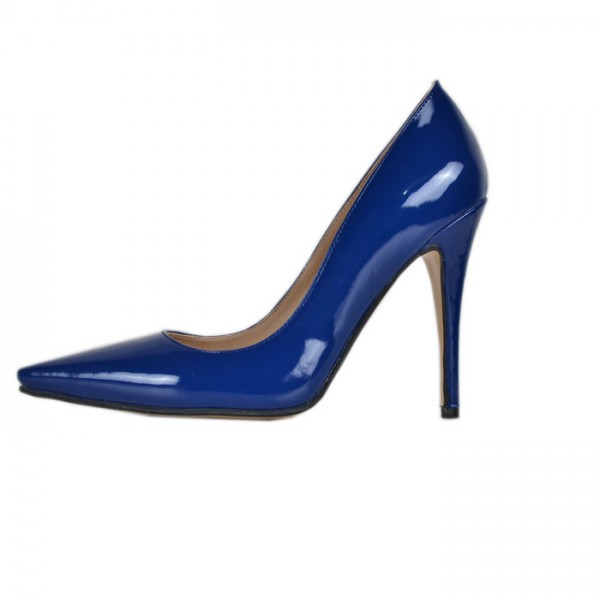 Cobalt Blue Shoes Pointy Toe Patent Leather Pumps Office Heels image 2