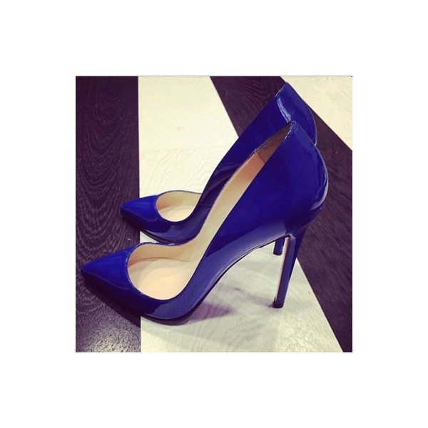Women's  Blue Low-cut Pointed Toe Stiletto Heels Pumps Shoes image 4