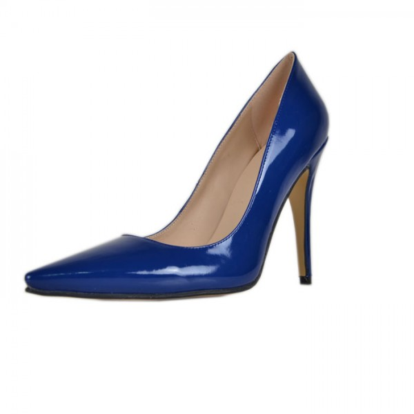 Cobalt Blue Shoes Pointy Toe Patent Leather Pumps Office Heels image 1