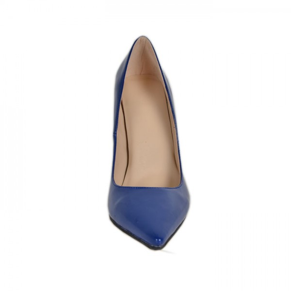 Cobalt Blue Shoes Pointy Toe Patent Leather Pumps Office Heels image 4