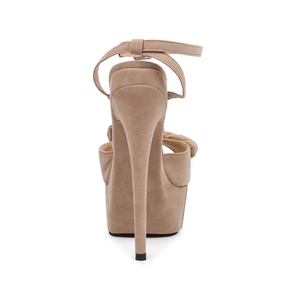 Khaki Platform Sandals Peep Toe Ankle Strap High Heel Shoes image 2