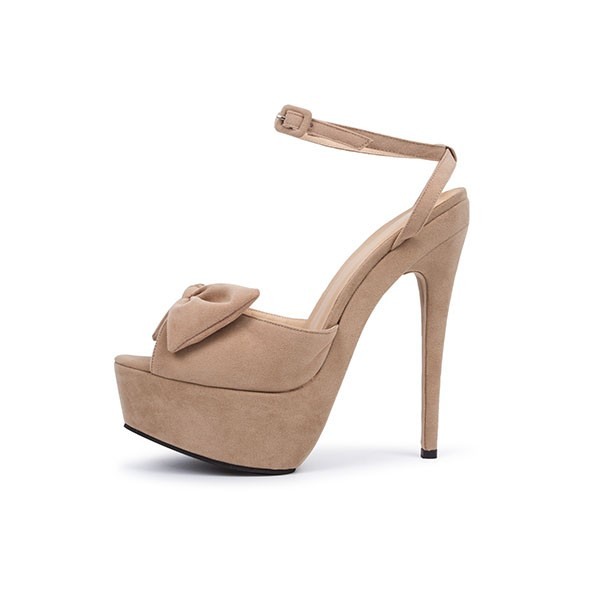 Khaki Platform Sandals Peep Toe Ankle Strap High Heel Shoes image 3