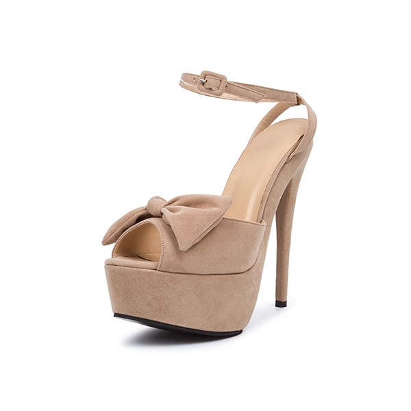 Khaki Platform Sandals Peep Toe Ankle Strap High Heel Shoes image 1