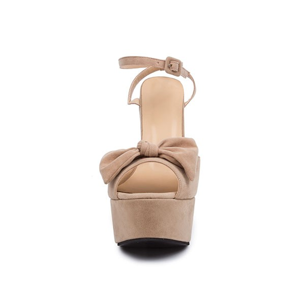 Khaki Platform Sandals Peep Toe Ankle Strap High Heel Shoes image 4